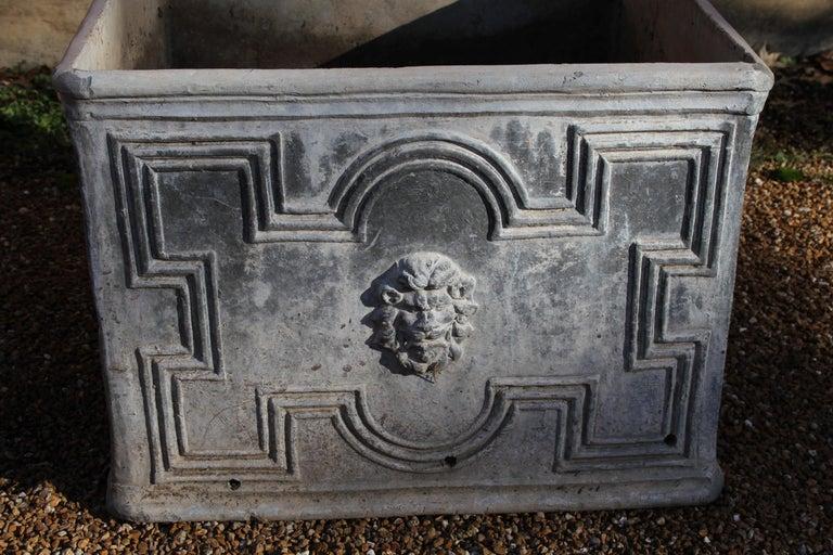 Pair of Antique English Lead Lion Head Planters For Sale 9