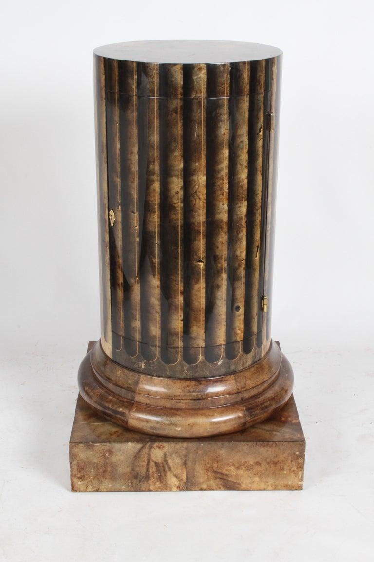 Italian Aldo Tura, Italy, Goatskin Column Dry Bar For Sale