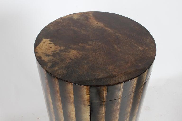 Aldo Tura, Italy, Goatskin Column Dry Bar For Sale 5