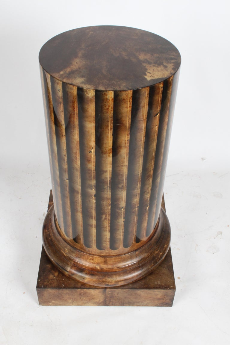 Aldo Tura, Italy, Goatskin Column Dry Bar For Sale 6