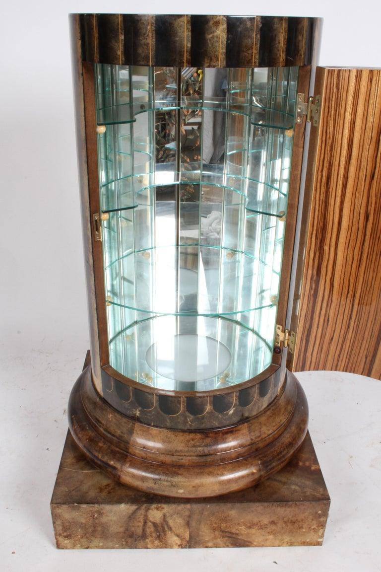 Aldo Tura, Italy, Goatskin Column Dry Bar For Sale 12