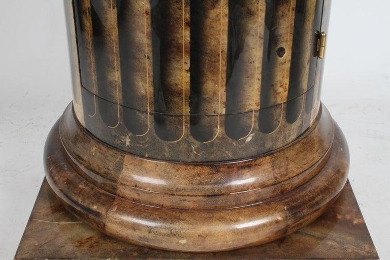 Mid-Century Modern Aldo Tura, Italy, Goatskin Column Dry Bar For Sale