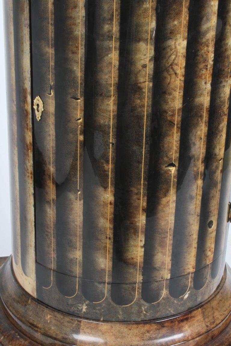 Aldo Tura, Italy, Goatskin Column Dry Bar For Sale 3