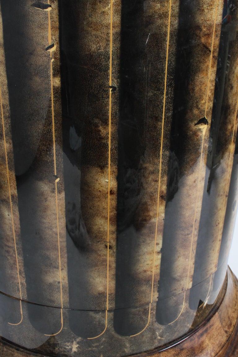 Aldo Tura, Italy, Goatskin Column Dry Bar For Sale 14