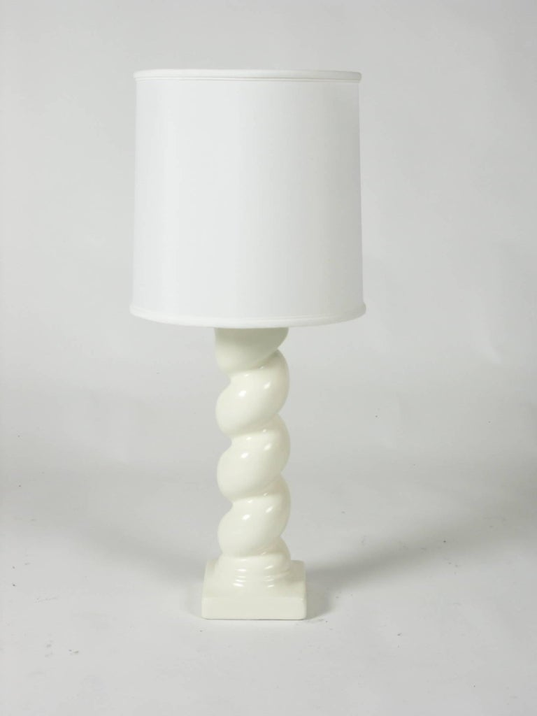 In the style of Michael Taylor Plaster Twisted Column Lamp. Newly painted. Excludes the shade.