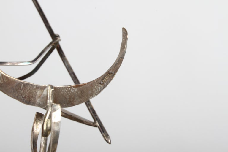 Mid-20th Century Paul A. Lobel Sterling Fisherman Kinetic Sculpture For Sale