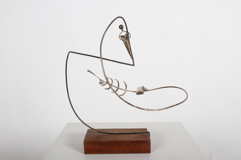 Paul A. Lobel Sterling Fisherman Kinetic Sculpture In Good Condition For Sale In St. Louis, MO