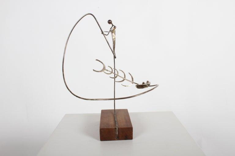 Paul A. Lobel Sterling Fisherman Kinetic Sculpture For Sale 4