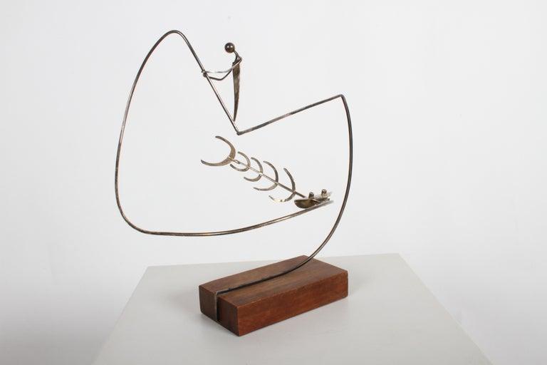 Paul A. Lobel Sterling Fisherman Kinetic Sculpture For Sale 1