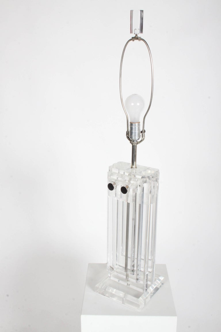 American Pair of Heavy Stepped 1970s Lucite Lamps For Sale
