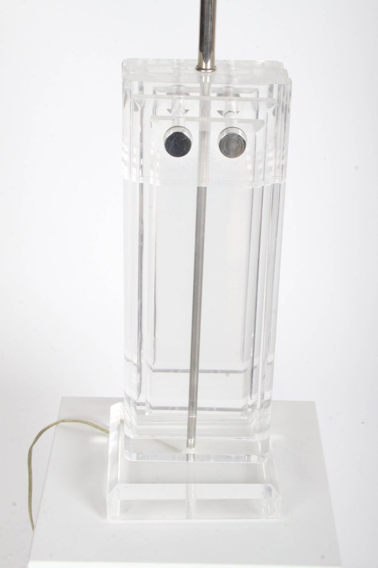 Pair of Heavy Stepped 1970s Lucite Lamps For Sale 3