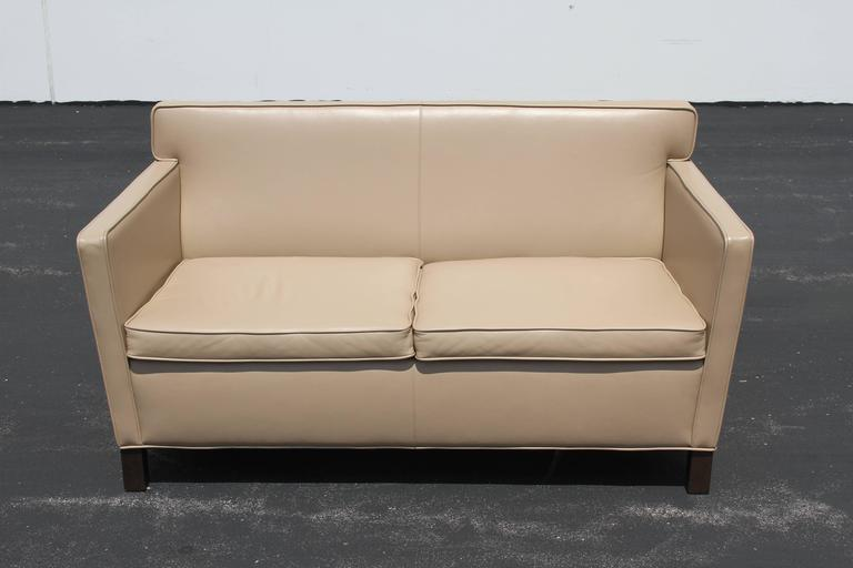 Mies Van Der Rohe Krefeld Tan Leather Settee For Knoll Recent Production Based On His