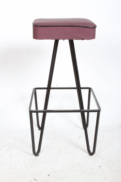 Pair of Wrought Iron Bar Stools after Frederick Weinberg For Sale 3