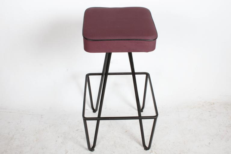 Pair of Wrought Iron Bar Stools after Frederick Weinberg In Good Condition For Sale In St. Louis, MO