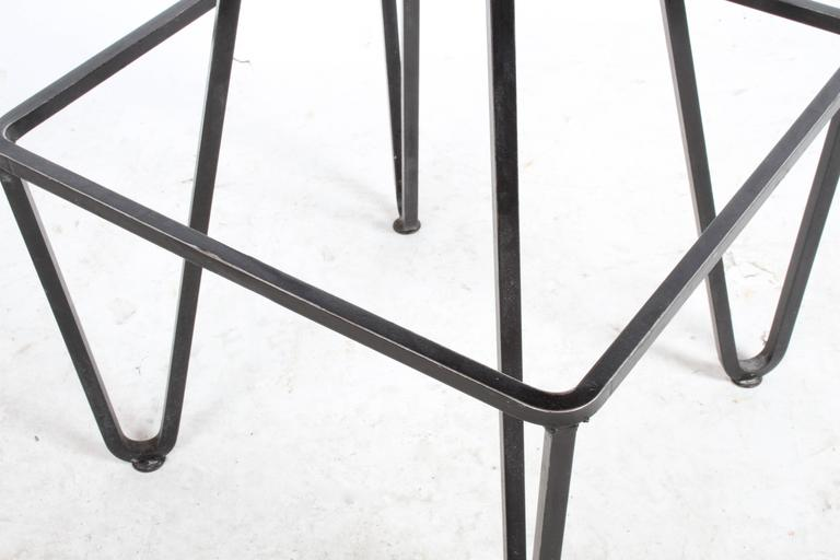 20th Century Pair of Wrought Iron Bar Stools after Frederick Weinberg For Sale