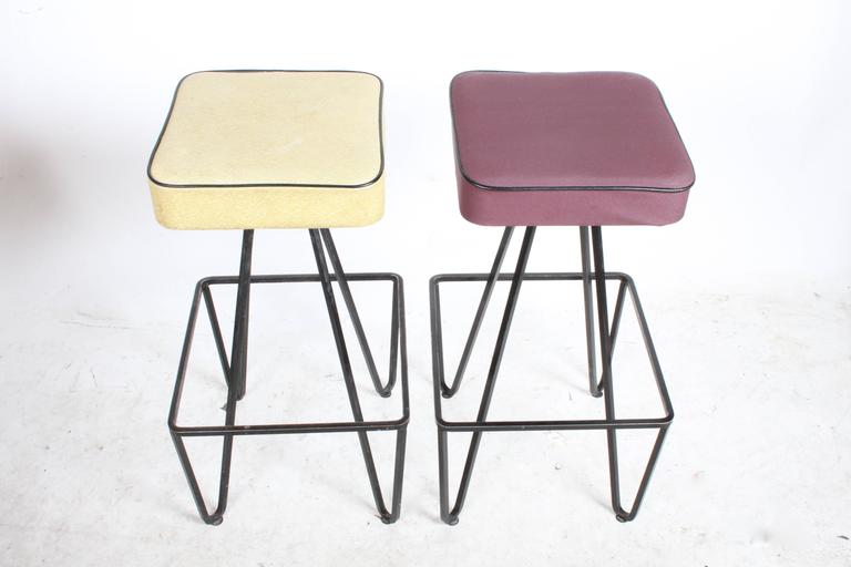 American Pair of Wrought Iron Bar Stools after Frederick Weinberg For Sale