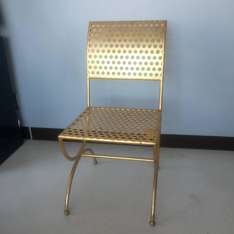 Hollywood Regency Tony Duquette Gilt Iron Palmer Chair For Sale