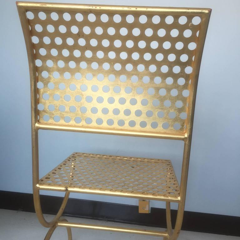 Tony Duquette Gilt Iron Palmer Chair In Good Condition For Sale In St. Louis, MO