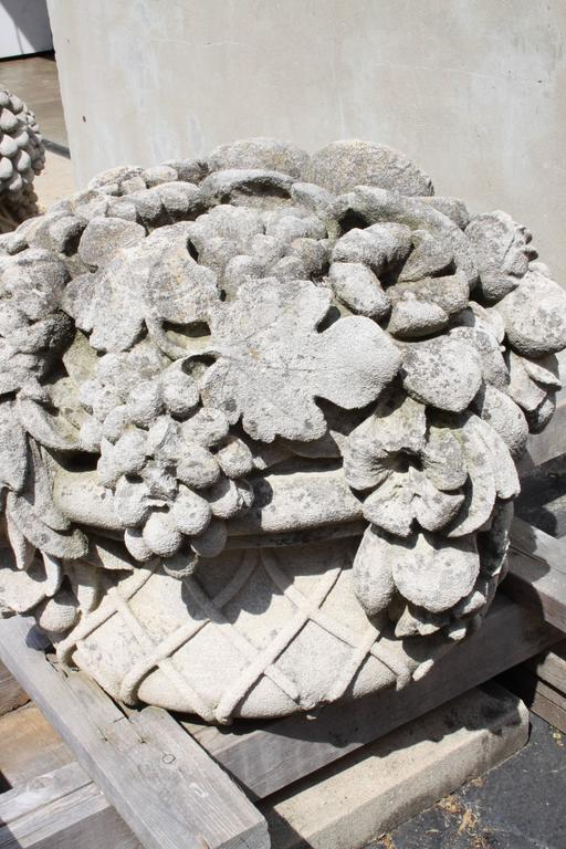 French Pair of Monumental Carved Stone Garden Fruit Basket from Famed Vouziers Mansion For Sale