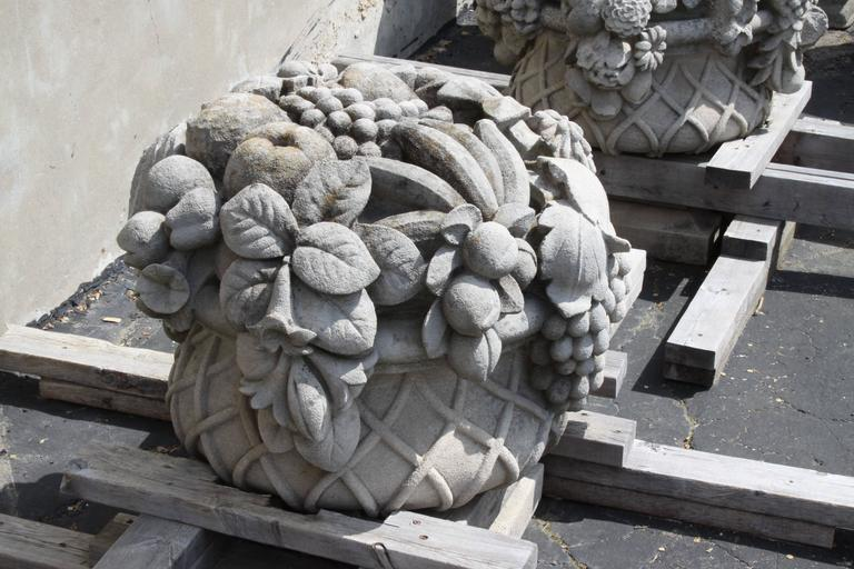 Pair of Monumental Carved Stone Garden Fruit Basket from Famed Vouziers Mansion In Excellent Condition For Sale In St. Louis, MO