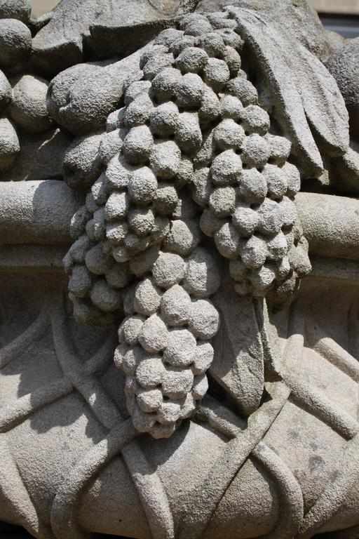 Pair of Monumental Carved Stone Garden Fruit Basket from Famed Vouziers Mansion For Sale 2