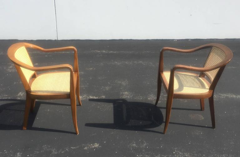 Mid-Century Modern Pair of Mid-Century Cane and Walnut Chairs in the Style of Edward Wormley For Sale