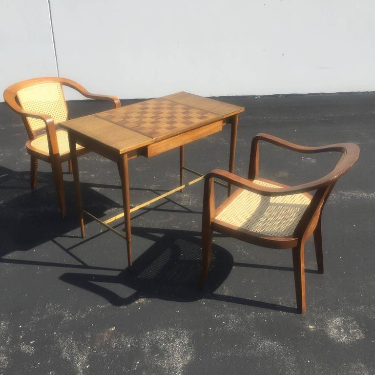 Pair of Mid-Century Cane and Walnut Chairs in the Style of Edward Wormley In Good Condition For Sale In St. Louis, MO