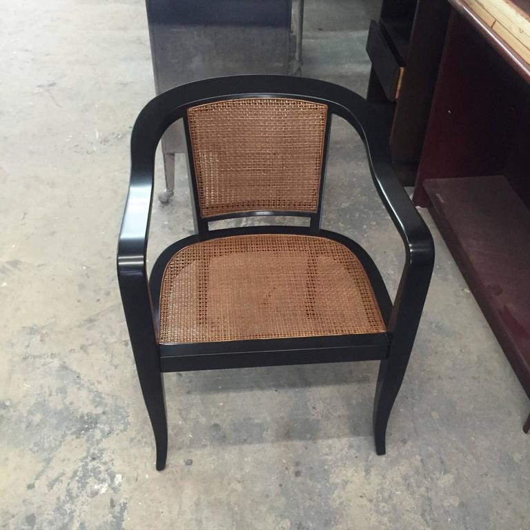 Mid-20th Century Pair of Mid-Century Cane and Walnut Chairs in the Style of Edward Wormley For Sale
