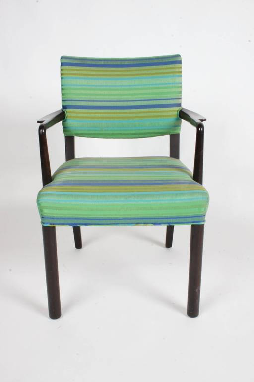 Edward Wormley for Dunbarsingle dining or desk chair with original fabric (Larson?) and finish. Very nice original condition. Measures: Arm height is 26