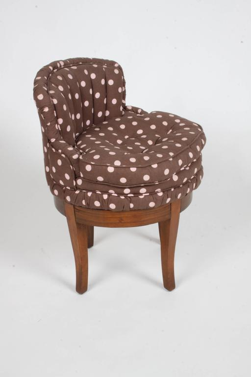 Vintage 1940s Swivel Vanity stool, with tufted polka dot fabric. Legs to be touched up prior to shipping. Fabric is clean, but may want to update. 
