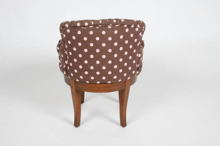 American 1940s Tufted Swivel Vanity Stool For Sale