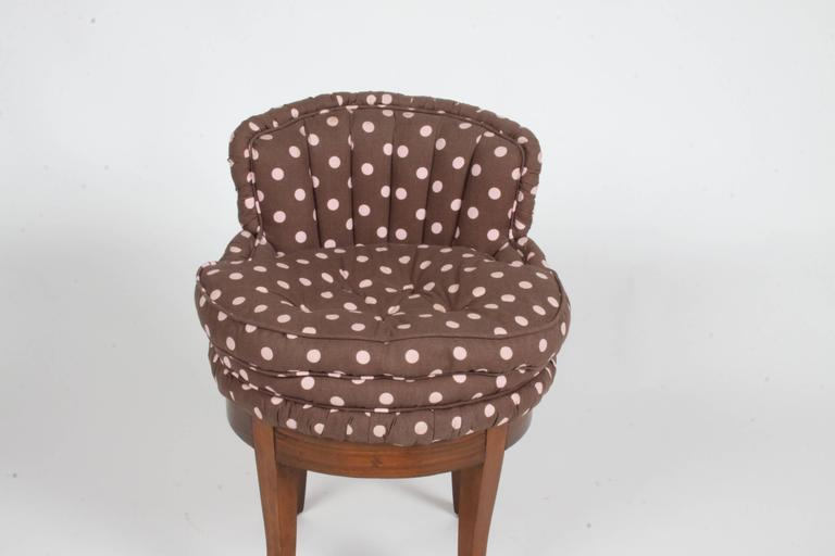 Mid-20th Century 1940s Tufted Swivel Vanity Stool For Sale