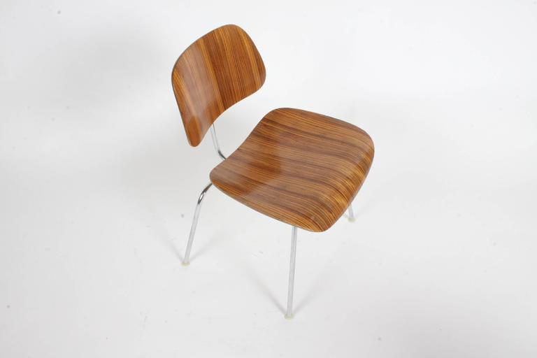 American Pair of Charles Eames for Herman Miller Zebrawood DCM Chairs, Rare For Sale