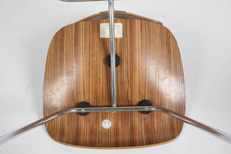 Chrome Pair of Charles Eames for Herman Miller Zebrawood DCM Chairs, Rare For Sale