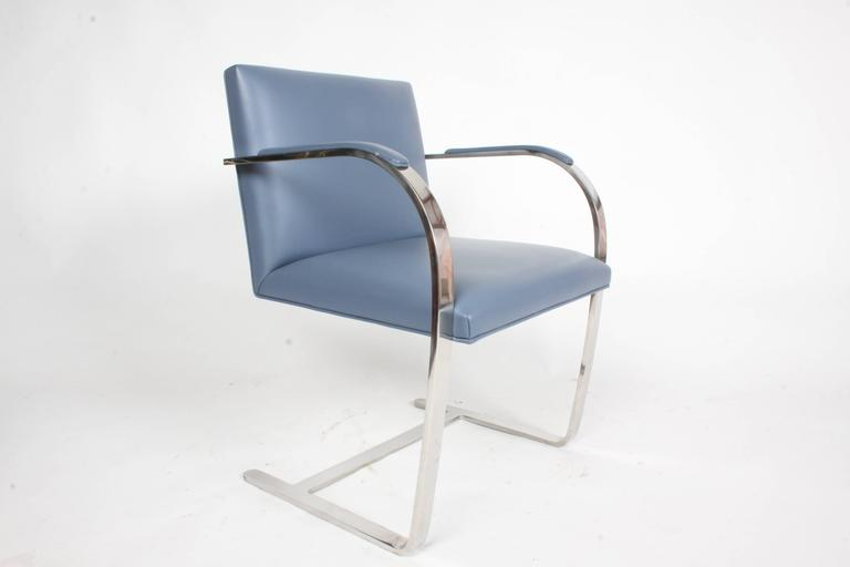 Mid-Century Modern Pair of Mies van der Rohe Flatbar Brno Chairs by Knoll, Stainless For Sale