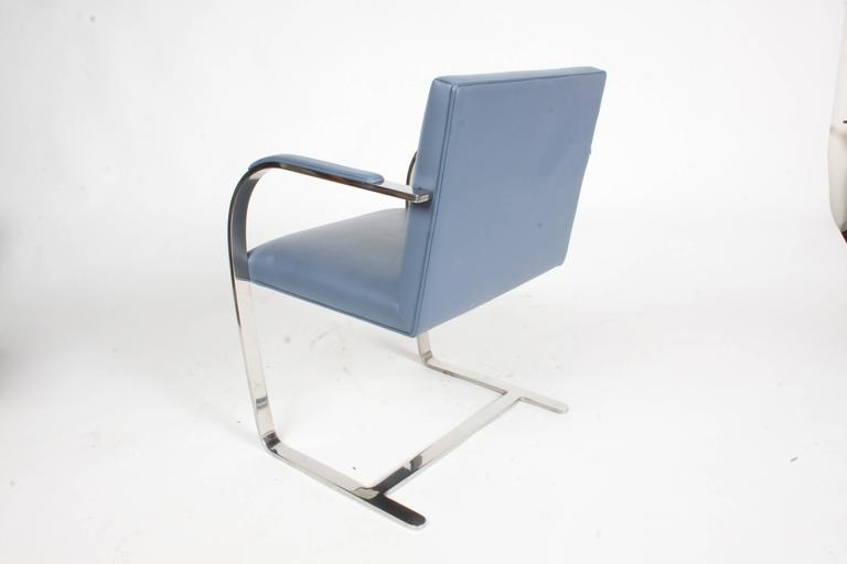 Stainless Steel Pair of Mies van der Rohe Flatbar Brno Chairs by Knoll, Stainless For Sale
