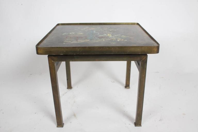 Philip and Kelvin LaVerne Bronze Enamel Side Table Kang Design 3