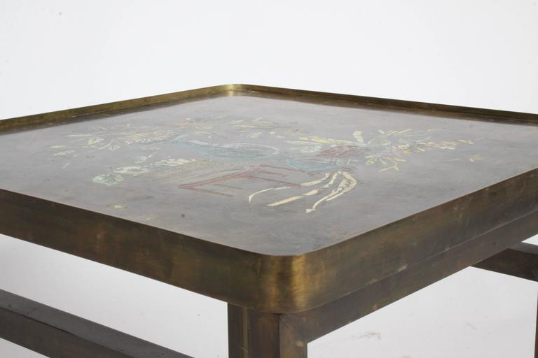 Philip and Kelvin LaVerne Bronze Enamel Side Table Kang Design 5