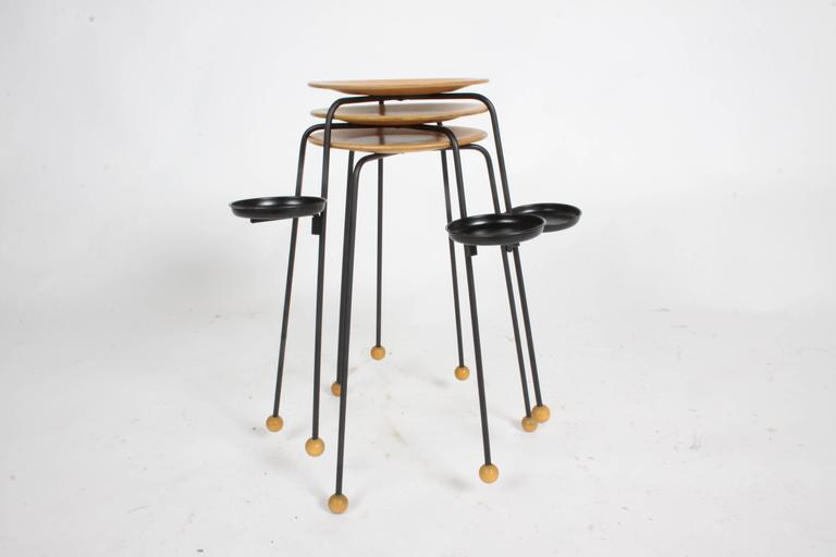 Mid-Century Modern Tony Paul Stacking Side Drink Tables Set of Three Mid-Century For Sale
