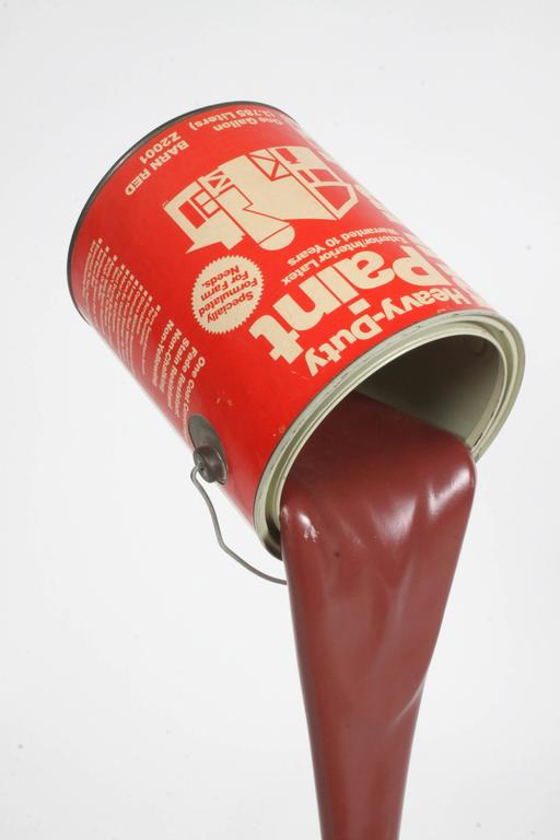 American Pop Art Paint Can Sculpture, circa 1960s Barn Red For Sale