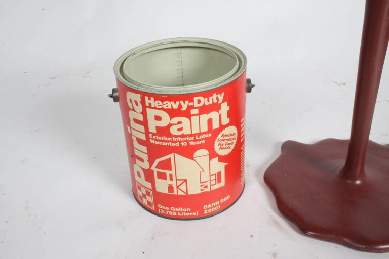 Pop Art Paint Can Sculpture, circa 1960s Barn Red In Excellent Condition For Sale In St. Louis, MO