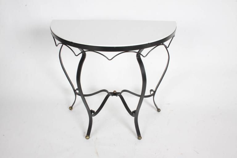 Painted French Deco Iron and Vitrolite Demilune Console, 1940s For Sale
