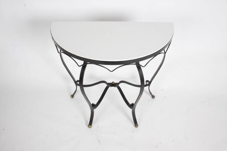 Mid-20th Century French Deco Iron and Vitrolite Demilune Console, 1940s For Sale