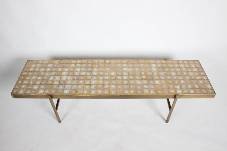 Mid-Century Modern Edward Wormley for Dunbar Style Brass and Tiled Coffee Table For Sale