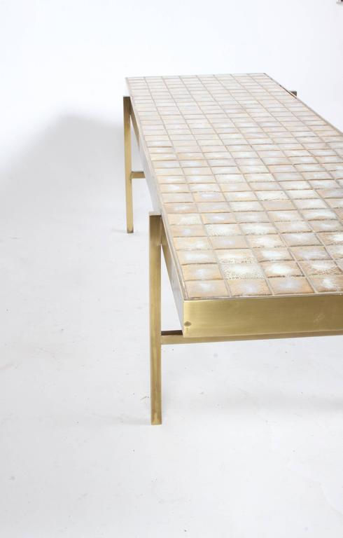 American Edward Wormley for Dunbar Style Brass and Tiled Coffee Table For Sale