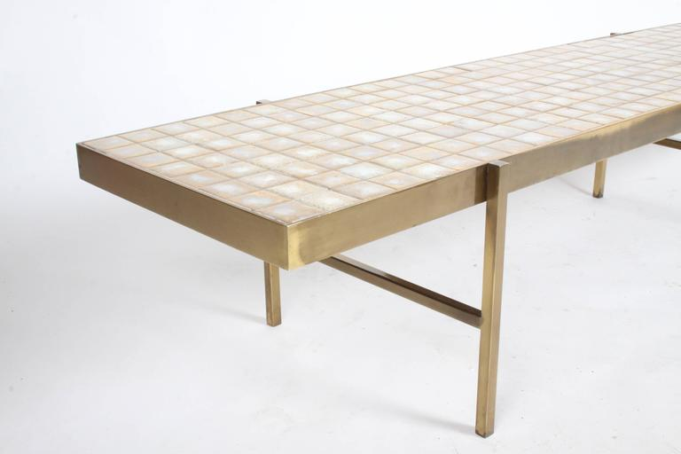 Edward Wormley for Dunbar Style Brass and Tiled Coffee Table In Excellent Condition For Sale In St. Louis, MO