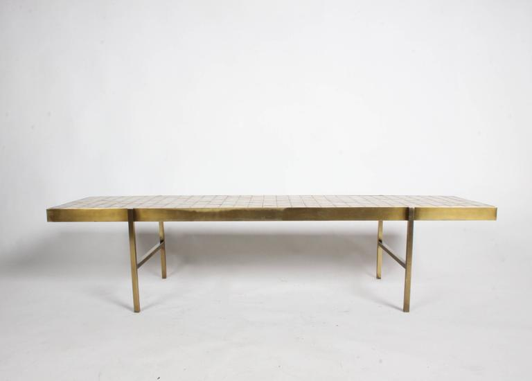 Edward Wormley for Dunbar Style Brass and Tiled Coffee Table For Sale 1