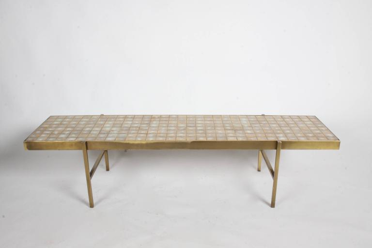 Edward Wormley for Dunbar Style Brass and Tiled Coffee Table For Sale 2