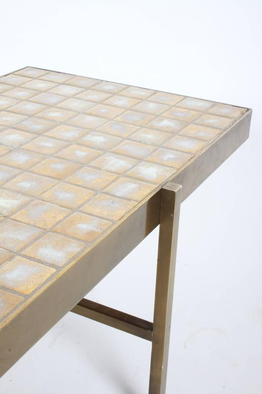 Edward Wormley for Dunbar Style Brass and Tiled Coffee Table For Sale 3