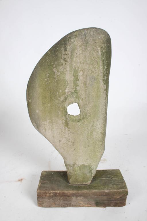 American Barbara Hepworth Organic Style Garden Yard Stone Sculpture  For Sale